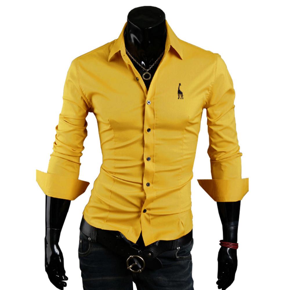 Мужские длинный рукав нагрудные рубашки в олень вышивка роскошь приталенный Fit платье рубашка свободного покроя вилочная часть топы 5 цветов