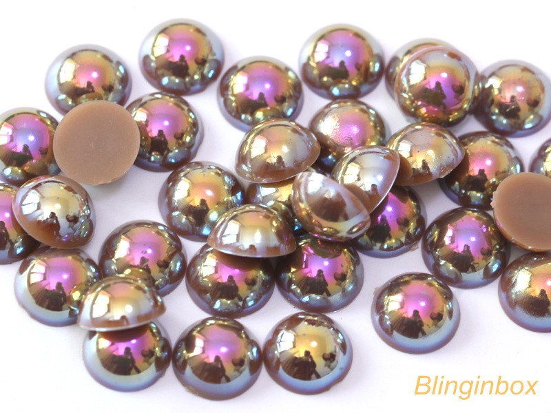 Wholesale flat back pearl colorful half round ABS pearl