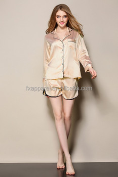 Orange Satin Pajamas Suit Long Sleeve Top And Shorts Plain Nightwear Pajama  Set Silk R333- ace9accb6