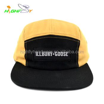 652aa66af09 guangzhou custom 100 cotton black yellow woven label 5 panel cycling  camping cap blank jockey sports