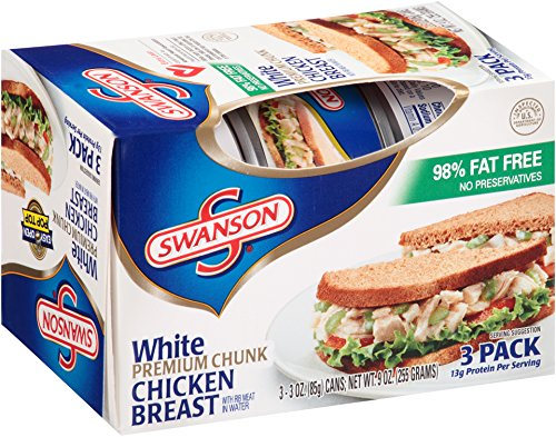 Swanson, White Premium Chunk Chicken Breast 3pk, 3 Ounce Cans (Pack of 4)