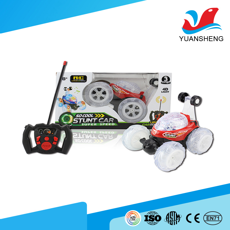 Latest launch 4 channel rc stunt car 4 rounds tumbling car toy with light and music