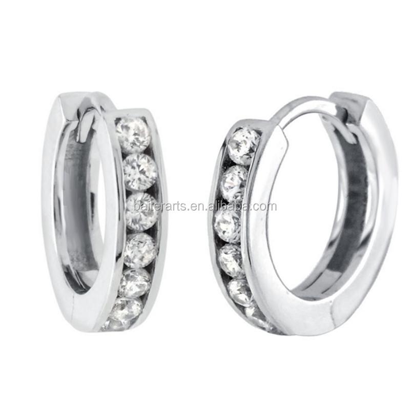 c0687b4525699 Women's 925 Sterling Silver Hoop Earrings Cz Diamond Clear Cubic Zirconia  Huggie Earrings - Buy Women's Huggie Earrings,Clear Cubic Zirconia Cz  Huggie ...
