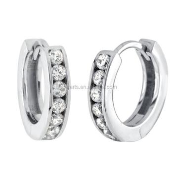 Women S 925 Sterling Silver Hoop Earrings Cz Diamond Clear Cubic Zirconia Huggie