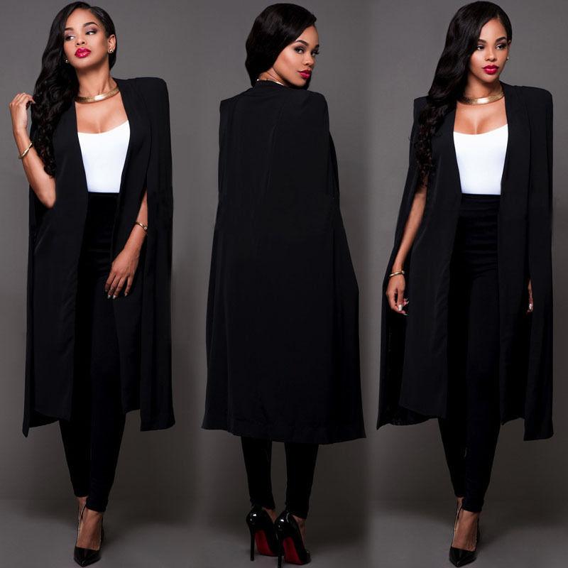 f68a7afb597 2019 2016 Autumn White Black Blazer Women Fashion Slim Long Cape ...