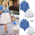 Family Matching Clothes Outfits Mother and Daughter Clothing sets Denim Shirts+TUTU Skirts Sets Matching Mother Daughter Clothes