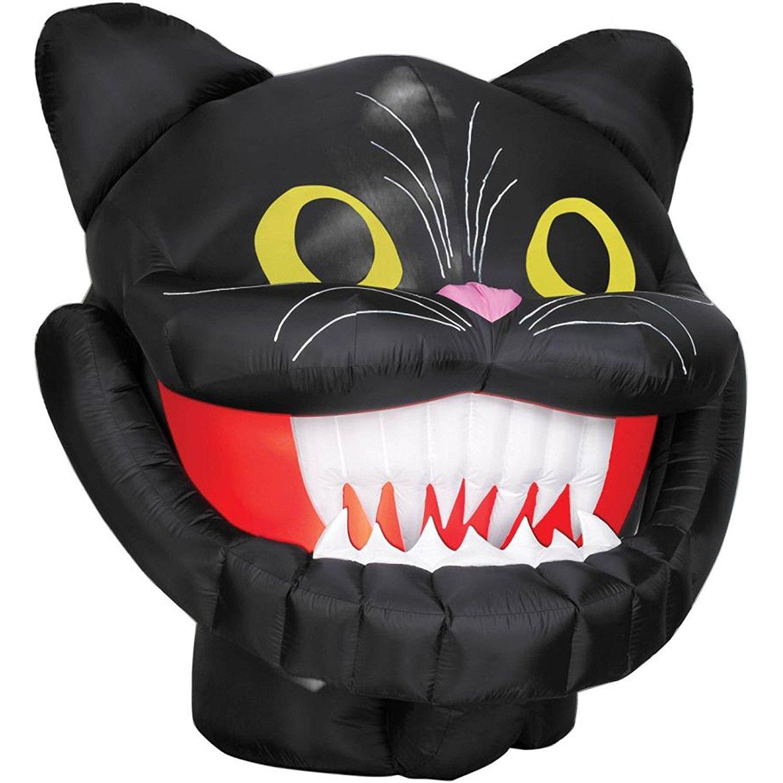 AirBlown Inflatable 6 Foot Tall Light Up Halloween Black Cat Head
