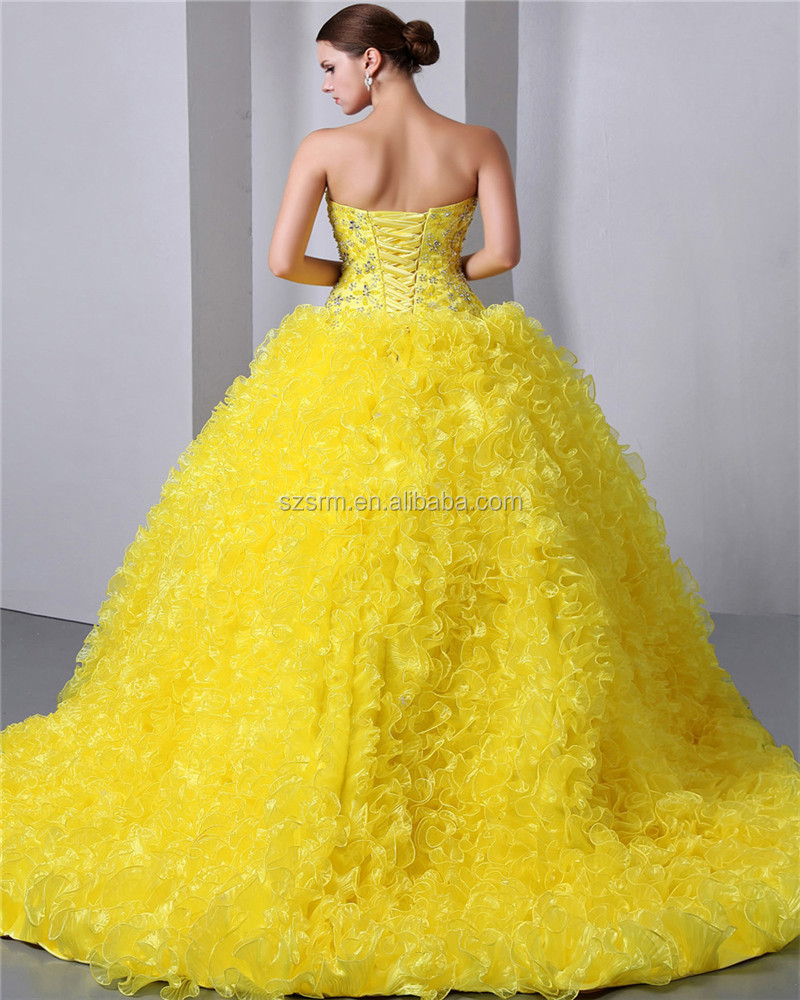 Glamorous Yellow Ball Gown Organza Lace-up Sweetheart Beaded Sweep ...