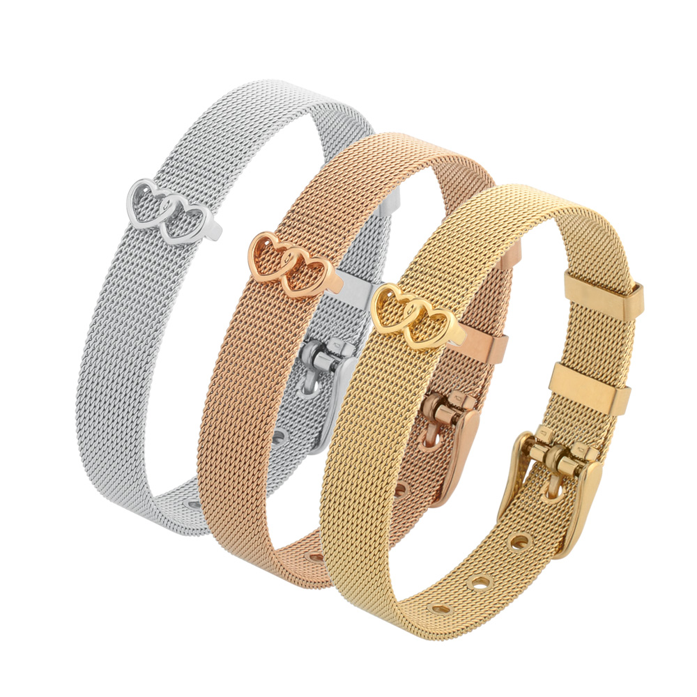 Wholesale Jewelry Adjustable Silver 18K Gold Stainless Steel Mesh Slide Charm Bangle Bracelet For Women