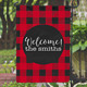 Personalized Monogram Sublimation Blank Buffalo Plaid Christmas Garden Flags