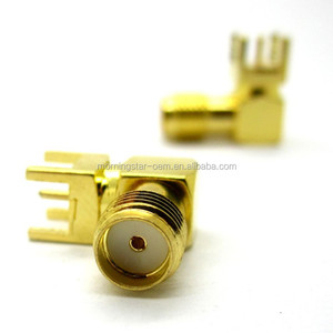 Factory sale SMA-KWE PINS Outside Holes Inside Female RF connector Plug 90 degrees Right Angel Connector Jack