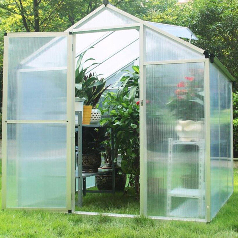 Sliverylake Outdoor Walk In Greenhouse 6'x6' Frame Kit Polycarbonate Panels Vents All Season Garden