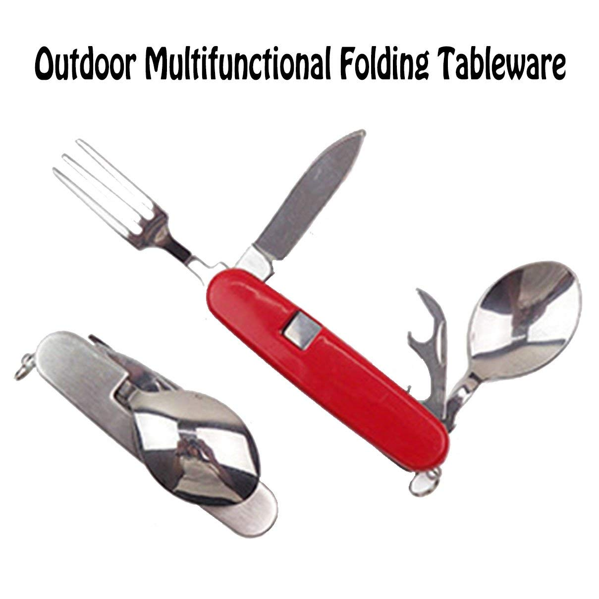 Multifunctional Cutlery Camping Utensil Travel Mess Cutlery Kit, 4 in 1 Portable Outdoor Pocket Knife Fork Spoon Diner Set, Stainless Steel Fork Spoon Knife Bottle Opener Set, Red Multi-function Table