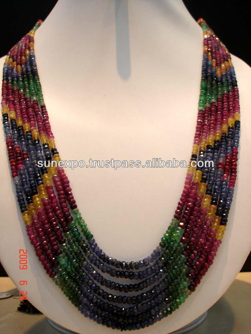 7 Strands Ruby Sapphire Emerald Multi Gemstone Necklace