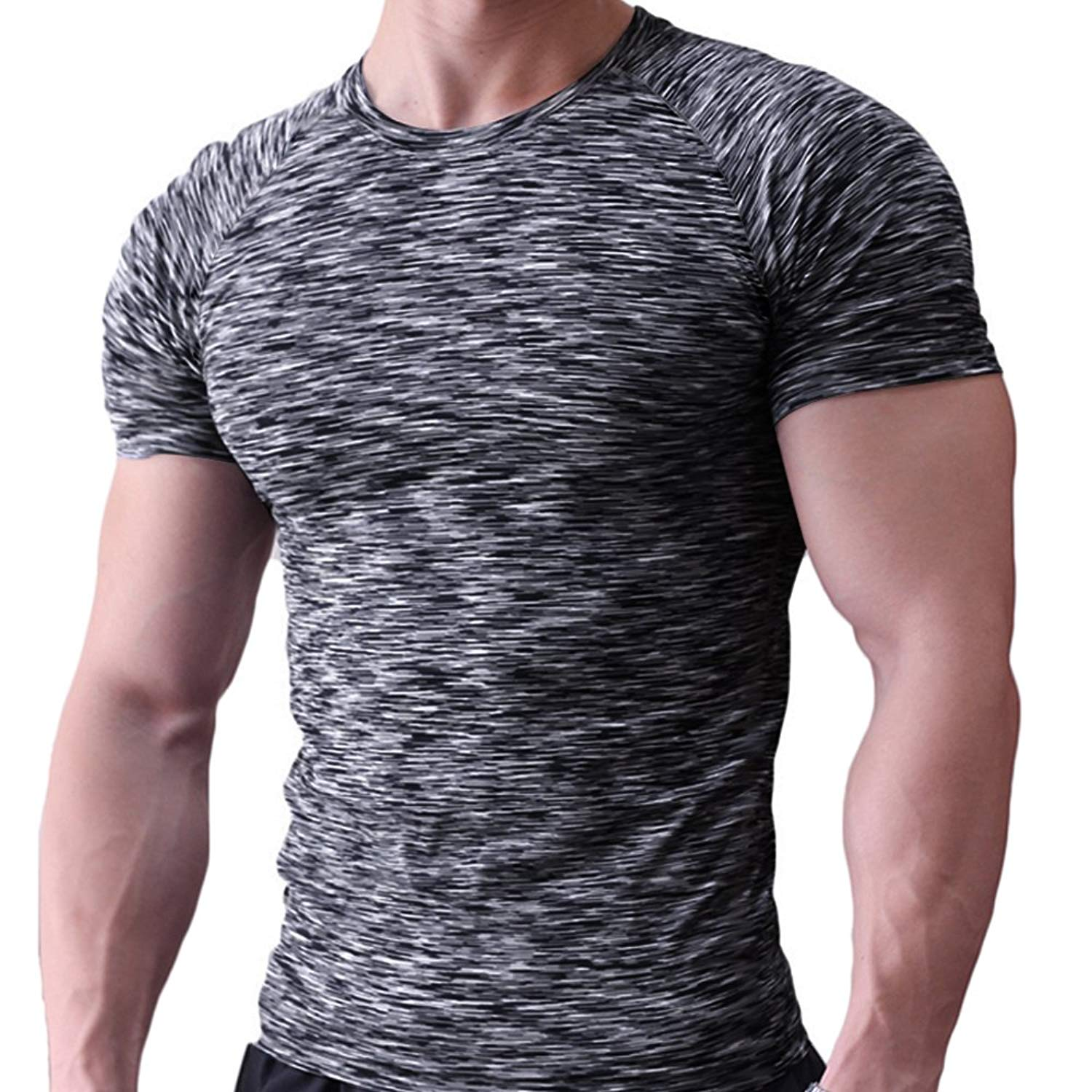 062c559409e Get Quotations · MUSCLE ALIVE Mens Tight T Shirts Crew-Neck Short Sleeve  Workout Muscle Compression Tees