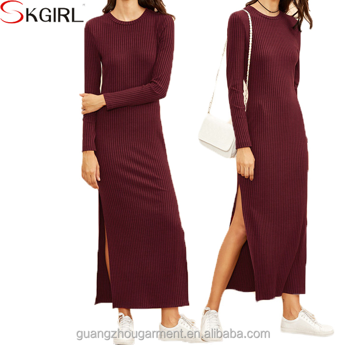 Casual Jersey Plus Size Long Sleeve Sexy High Split Ribbed Maxi Winter Dresses For Women Simple One Piece Design Buy Sexy Split Maxi Dresses Plus Size Long Sleeve Maxi Dresses Casual Maxi Winter