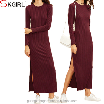 ad63742b3da Casual jersey plus size long sleeve sexy high split ribbed maxi winter  dresses for women simple