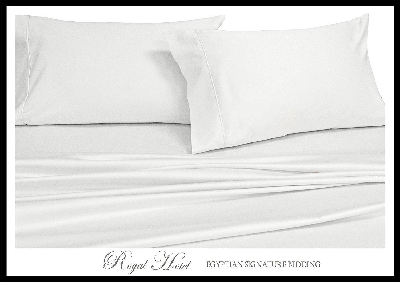 California King White Silky Soft bed sheets 100% Rayon from Bamboo Sheet Set