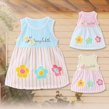 Frete grátis Sem Mangas de Algodão Verão impressão tarja Roupa Do Bebê 0-2 T meninas encantadoras vestido de Bebê Vestido de Princesa Do Bebê o Vestido da menina