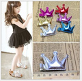 10pcs 2016 Top Sell PU Tiaras Kids Hair Clips Queen Girl Hairpins Duck Clip Barrette Baby