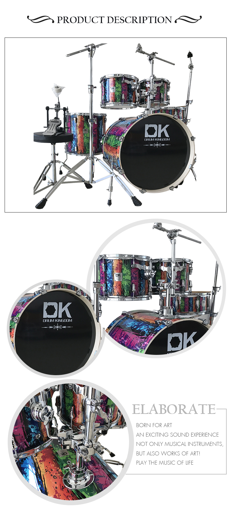 customized supplier full size professional percussion plus drum sets for sale buy full size. Black Bedroom Furniture Sets. Home Design Ideas