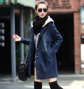 Onenweb D51498J 2014 autumn and winter denim hooded women's long coat