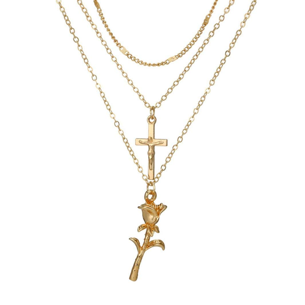 YouCY Bohemian Multilayer Rose Cross Pendant Necklace Fashion Women Charms Choker Necklace Collar Jewelry Gift