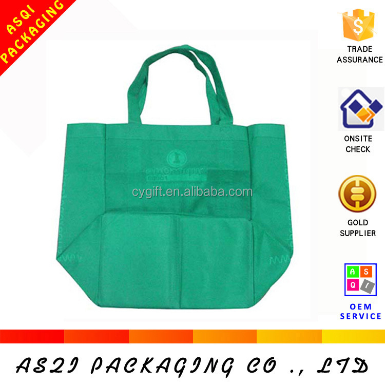 custom top quality wide bottom foldable shopping tote bag with supermarket shop bag