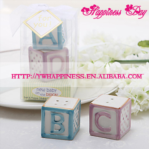 """New Baby on the Block"" Ceramic Baby Blocks Salt & Pepper Shaker Wedding Favors and Gifts"