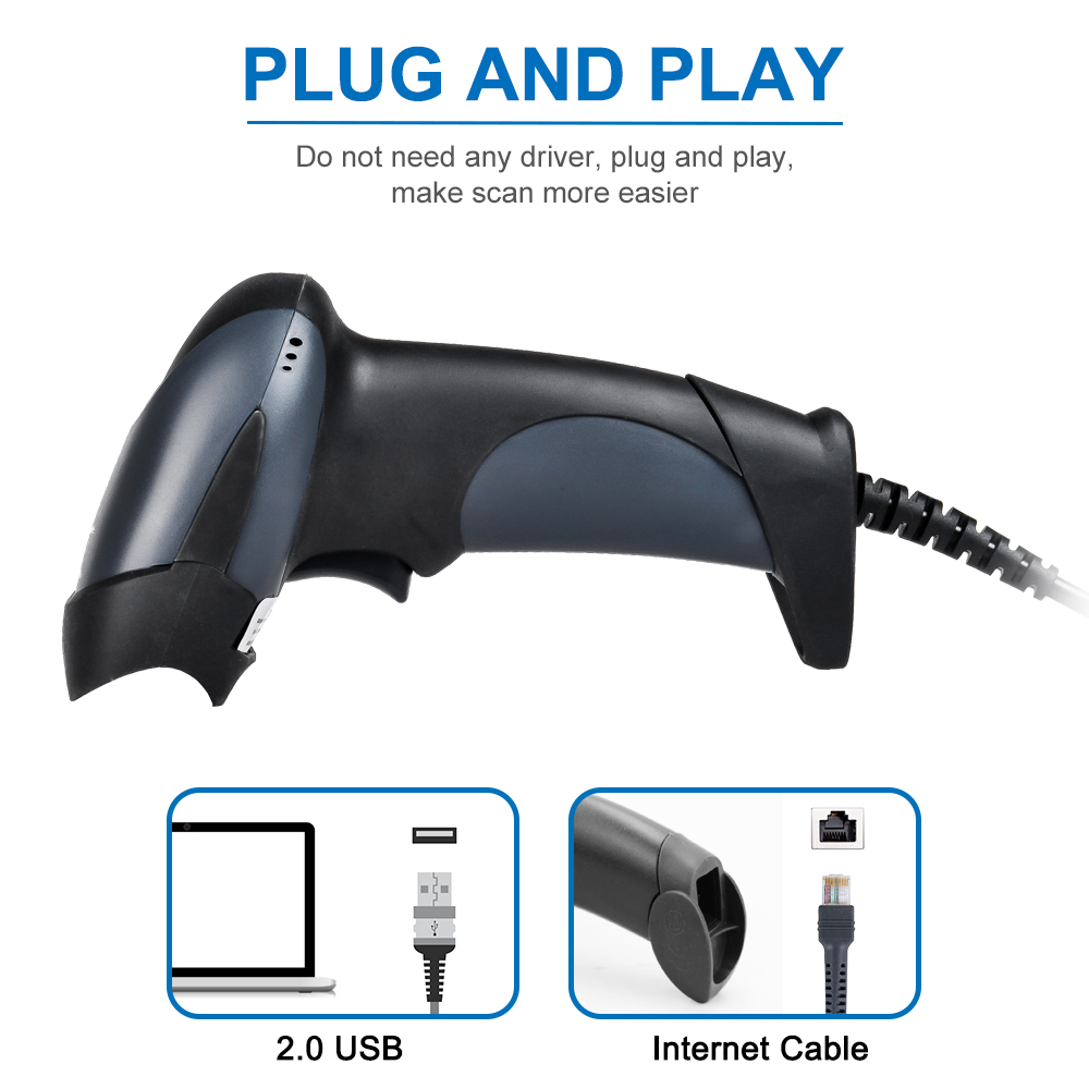1D/2D USB con cable código qr escáner expreso lector de código buena barcode scanner precio