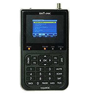 SATLINK WS-6906 DVB-S FTA Digital Satellite Finder Meter 3.5 Inch LCD Satellite TV Receiver Supports QPSK, Built-in 3000mAH Battery