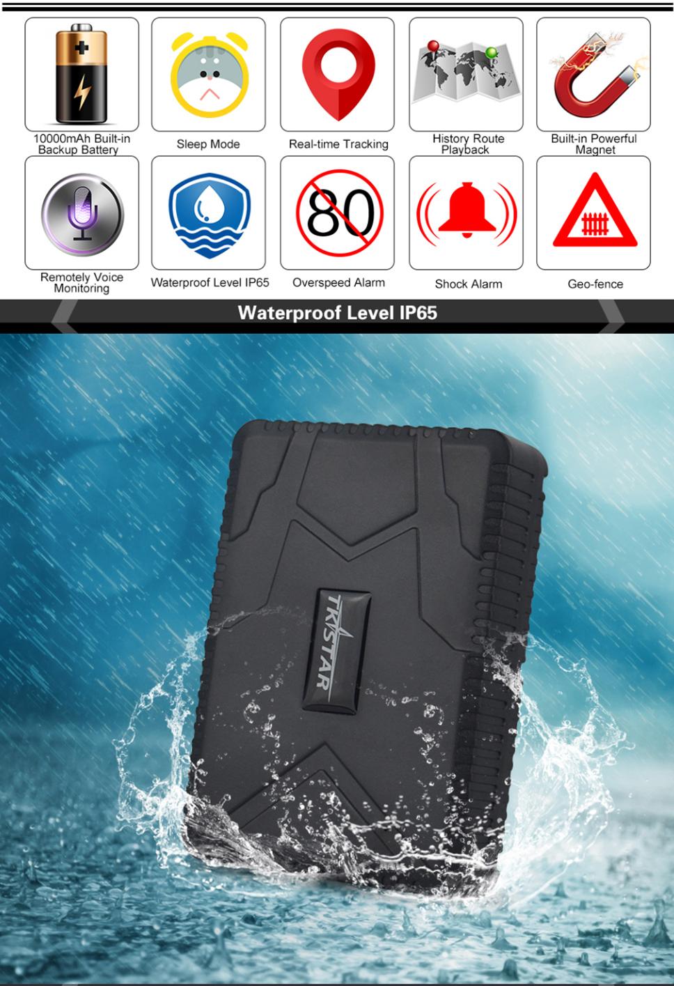 Waterproof Vehicle Tracker TK915 3G Car GPS Tracker 12/24V GPS Locator  Strong Magnet 10000mAh Battery Standby 100Days