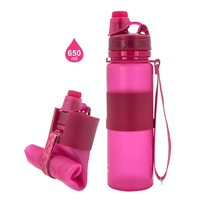 Best Selling Products 650ml 22oz BPA Free Foldable Silicone Water Bottle