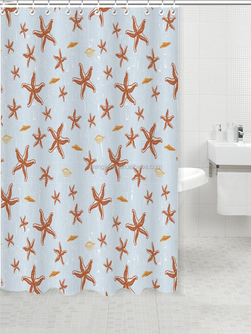 Orange starfish printed polyester shower curtain, bath curtain