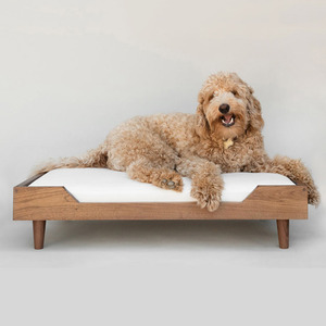 Handmade Dog Wooden Bed hundebett High Quality Foam Cushion Pet Solid Wood Furniture Bed