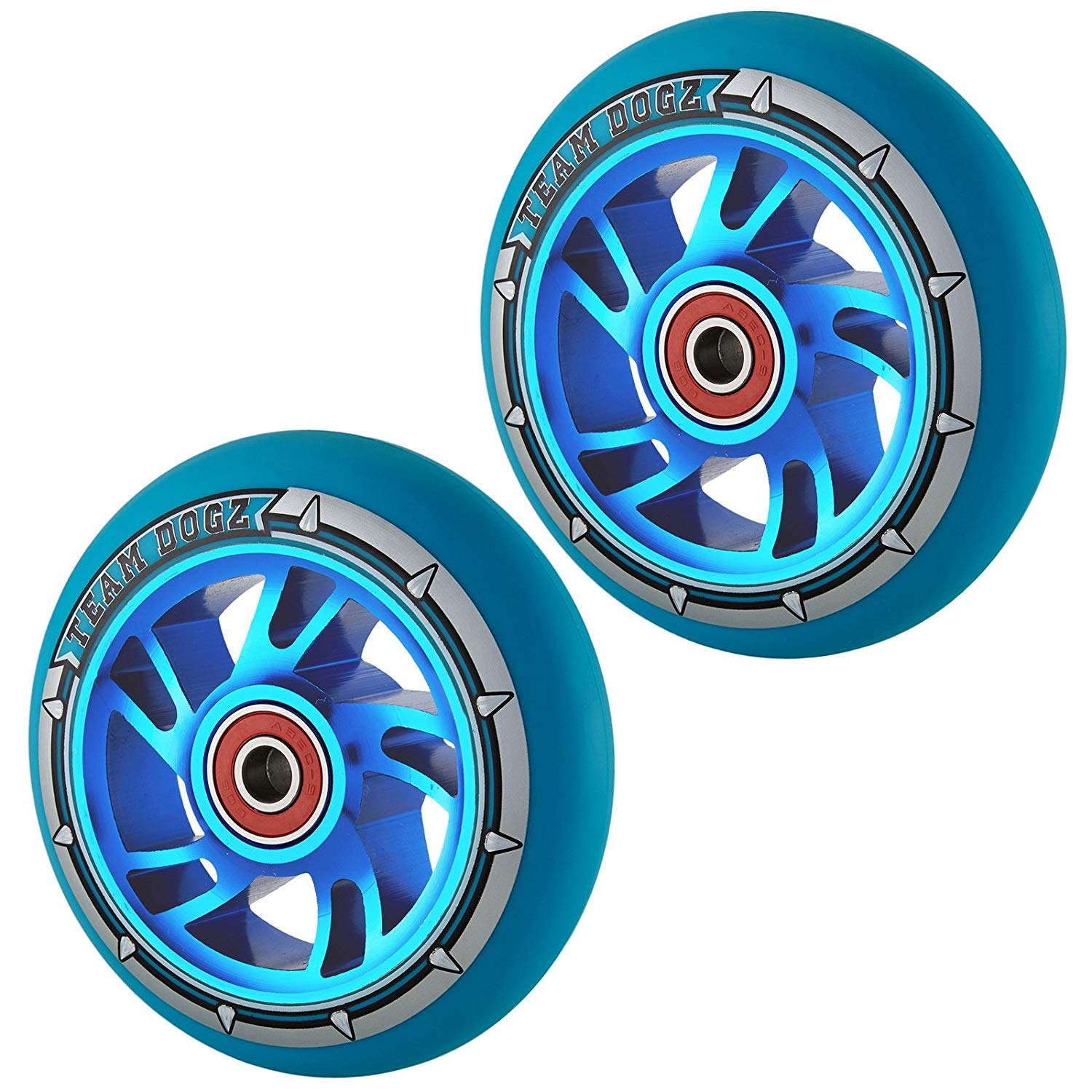 Team Dogz 100mm Swirl Scooter Wheels - Blue Cores with Blue Tyres (Pair)