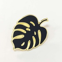 Gold green leaf shaped custom lapel pins /hard enamel pin badges custom