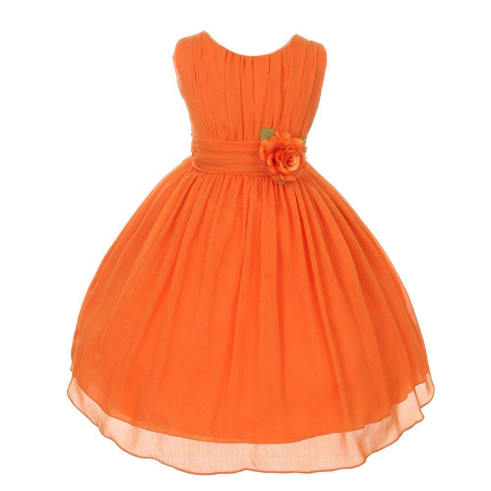 7adc16176 Get Quotations · Good Girl Little Girls Orange Floral Chiffon Flower Girl  Easter Dress 4-6