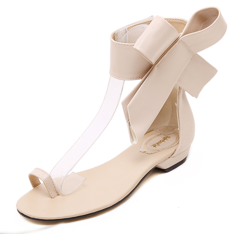 Manufacturer fashion ladies party wear sexy bow low heel shoes toe ring fancy flat <strong>sandals</strong> women