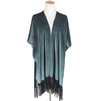 Toros Winter Women Plain Supreme Long Velvet Fringe Kimono Jacket ...