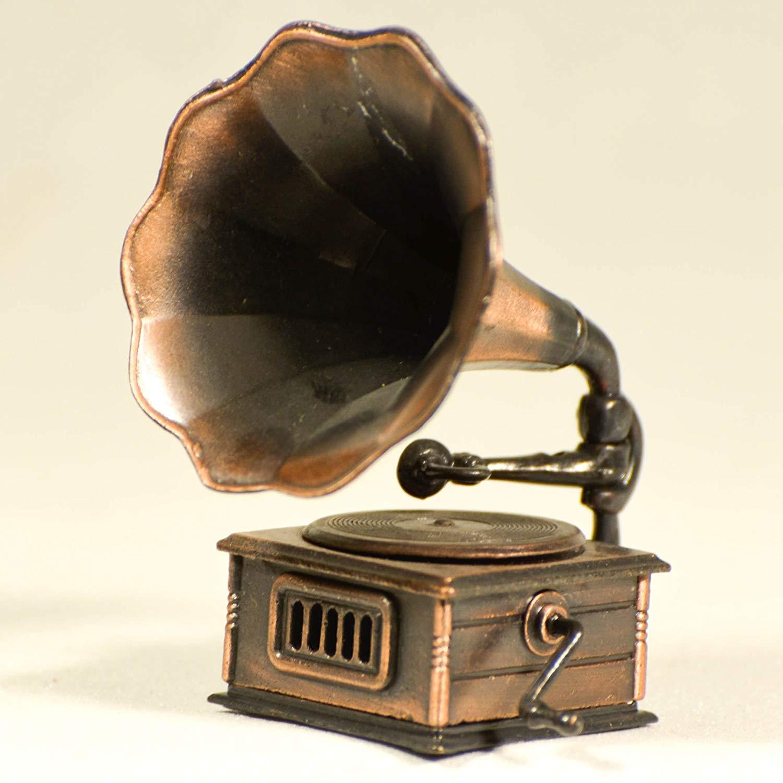 Replica Antique Gramophone Sharpener Collectible Miniature Figurine Musician Gift Phonograph