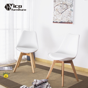 ABS seat with cushion and beech wood base tulip side chair