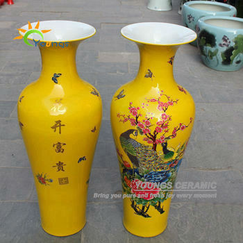 Gorgeous Design Peacock Pattern Tall Indoor Yellow Ceramic Vases