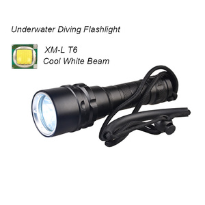 High Performance LED Underwater Flashlight 18650 battery Under Water 80m Dive Flashlight