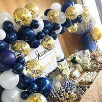 Gold Confetti Balloons Matte White And Dark Blue balloon Garland Kit For Baby Shower