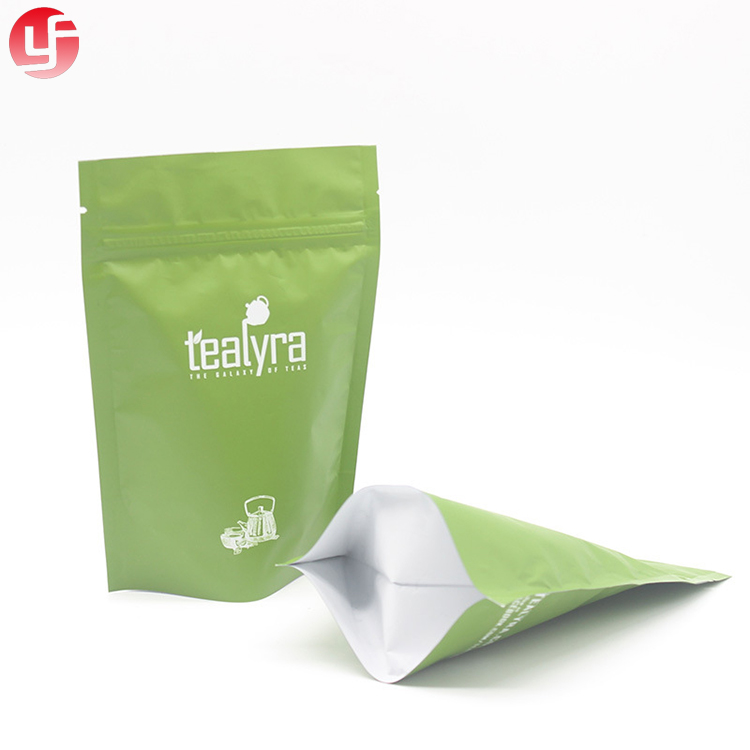 Rerusable food grade waterproof tea packing bag standing up zipper pouch laminating plastic packaging bag