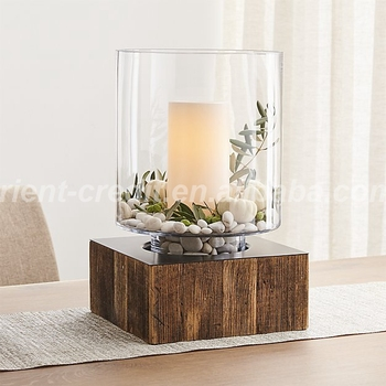 Aspen Hurricane Wooden Glass Candle Holder With Wood Base Home