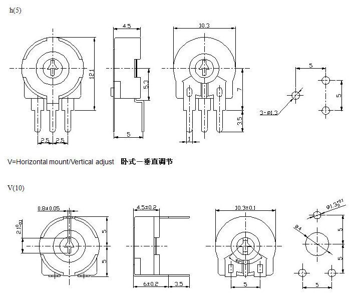 A20k B103 Trimmer Potentiometer Knob Piher Acp Potentiometer Ca6 Ca9 Ca14  Pt6 Pt10 Pt15 Timer - Buy Potentiometer Knob,B103