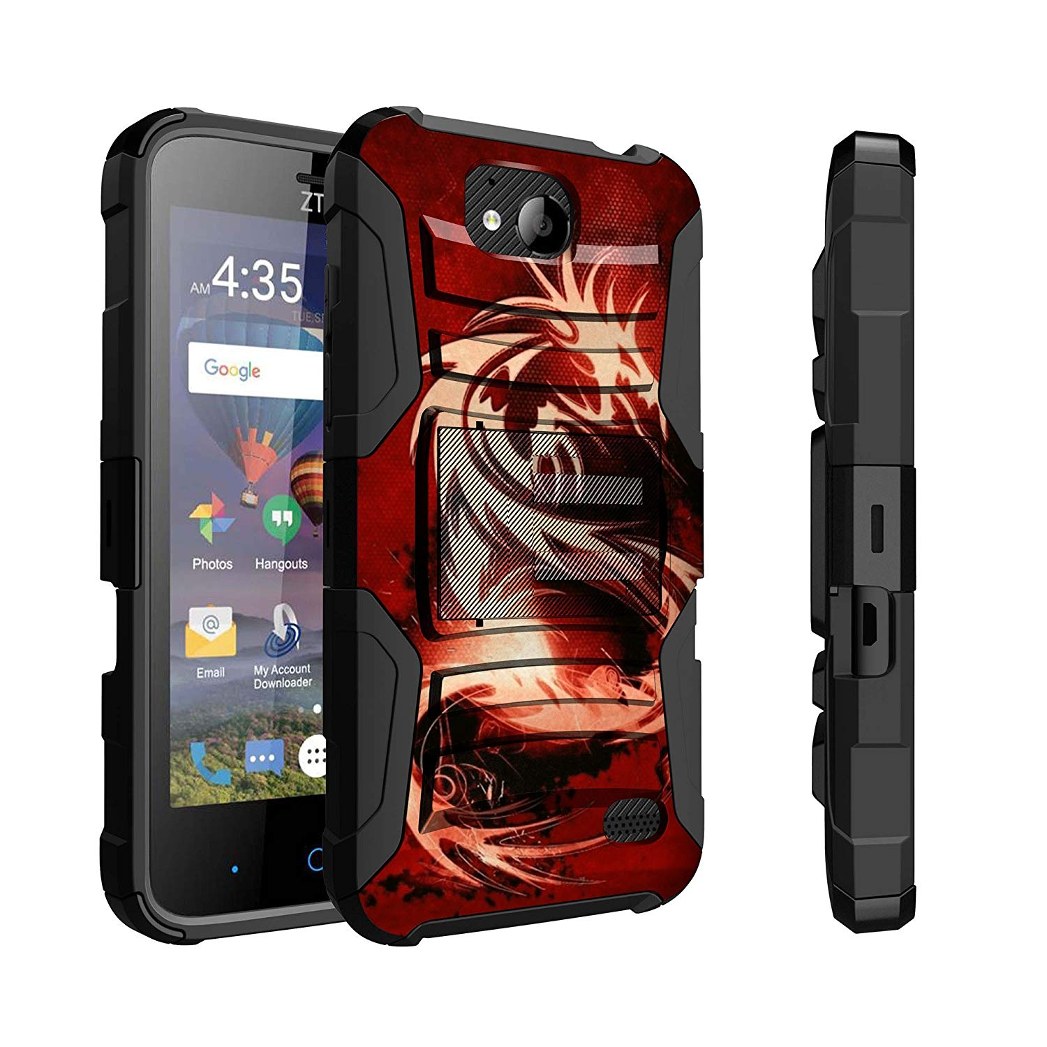 Untouchble Case for ZTE Majesty Pro Case, ZTE Majesty Pro Plus Case [Heavy Duty Clip] Combat Shockproof Two Layer Belt Clip Kickstand Cover Rugged - Red Dragon