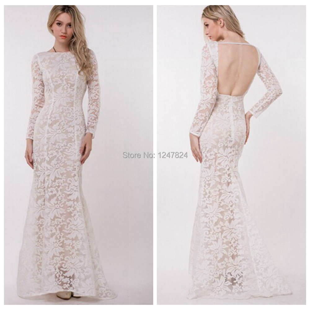 2015 New Elegant Full Long Sleeves Mermaid Wedding Dresses: 2015 New Women Lace Full Sleeve Backless White Mermaid